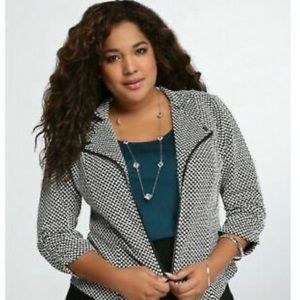 Torrid Black & White Checkered Jacket 1X